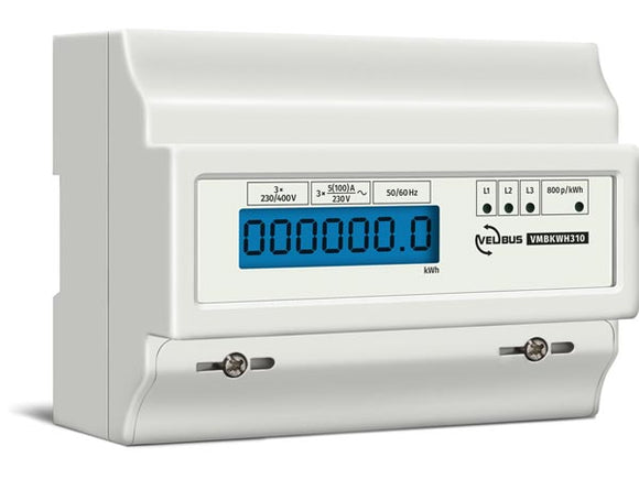 VELLEMAN VMBKWH310 VELBUS VMBKWH310 THREE‑PHASE KILOWATT HOUR COUNTER FOR DIN‑RAIL MOUNTING • 10 (100) A • CONNECTS TO VMB7IN