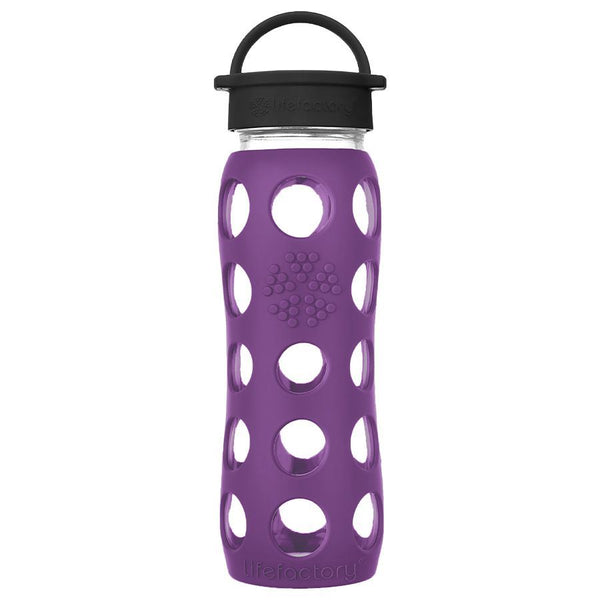 Lifefactory Glass Water Bottle with Classic Cap - 650ml, Plum