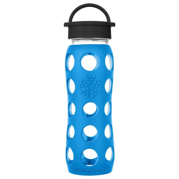 Lifefactory Glass Water Bottle with Classic Cap - 650ml, Teal Lake