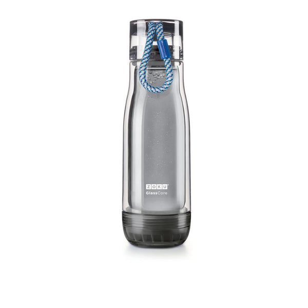 Zoku Grey Glass Core Bottle - 0.45L, Blue - Thermo Hero