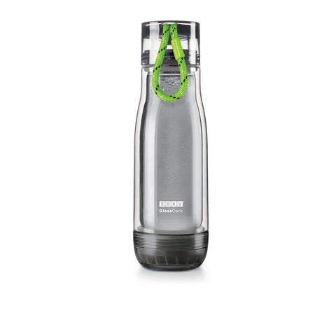 Zoku Grey Glass Core Bottle - 0.45L, Green - Thermo Hero