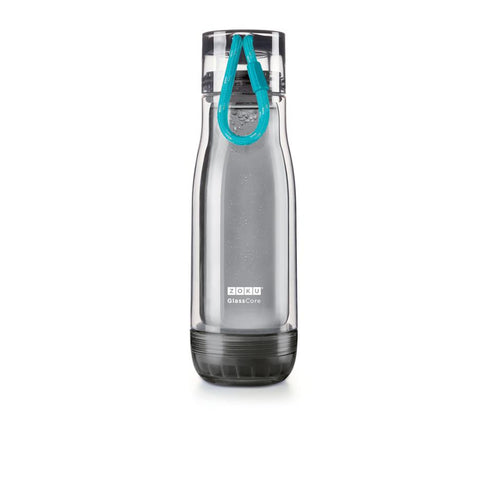 Zoku Grey Glass Core Bottle - 0.45L, Teal - Thermo Hero