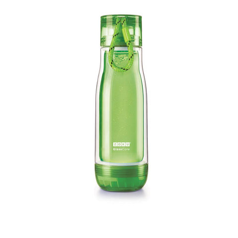 Zoku Glass Core Bottle - 0.45L, Green - Thermo Hero