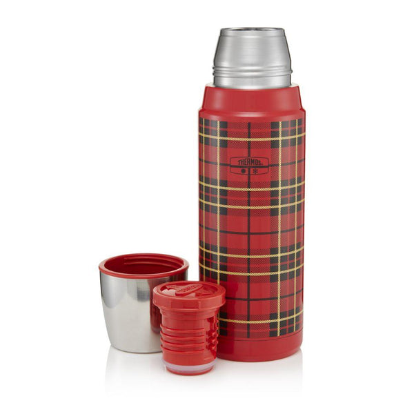 Thermos Retro Stainless Steel Flask Red Tartan 470ml