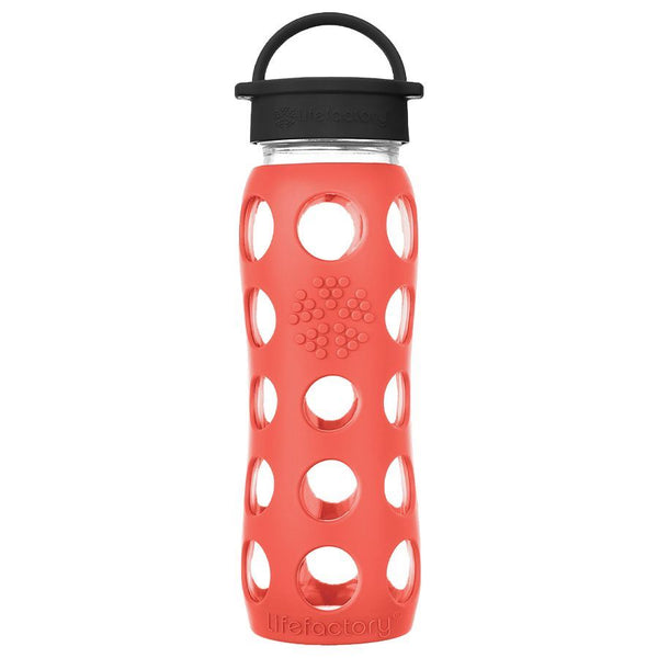 Lifefactory Glass Water Bottle with Classic Cap - 650ml, Poppy