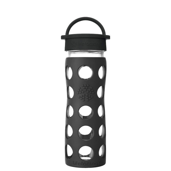 Lifefactory Glass Water Bottle with Classic Cap - 475ml, Onyx