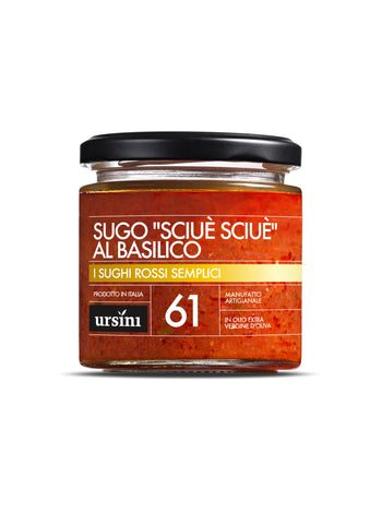 "Pasta Sauce - ""SCIUÈ SCIUÈ"" WITH BASIL SAUCE - 7oz / 200g, Ursini imported by Product of Italy"