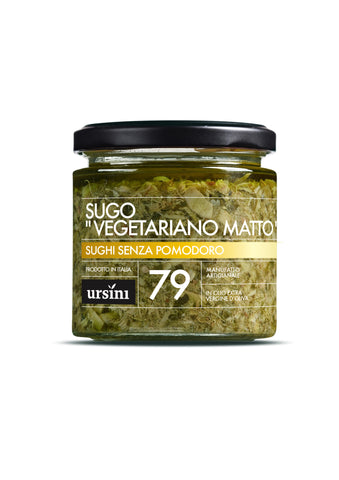 "Pasta Sauce - ""CRAZY VEGETARIAN"" SAUCE - 7oz / 200g, Ursini imported by Product of Italy"