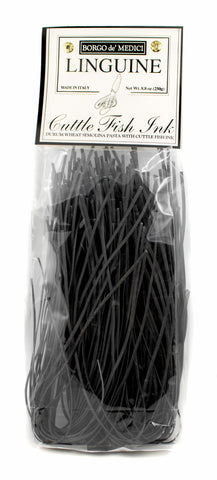 Pasta - BLACK LINGUINE AL NERO DI SEPPIA- 8.8oz / 250g, Borgo de Medici imported by Product of Italy