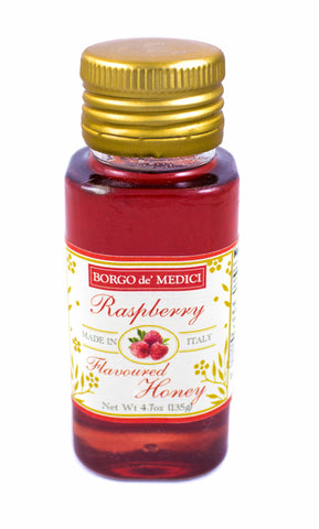 RASPBERRY FLAVOURED HONEY  - 4.7oz / 135g - Product of Italy