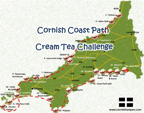 Cornish Coast Path Cream Tea Challenge Map