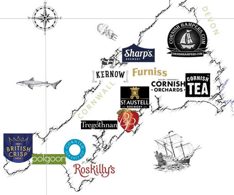 Cornish Hampers food map of Cornwall