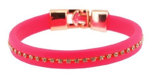 Neon Pink Rhinestone and Rubber Bracelet, Jelly Bracelet, Rubber Wristband