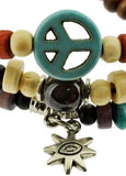 Mandala Crafts Peace Symbol Wood Beads Wrap Bracelet/Zen Bracelet/Multi-Layer Wristband/Surf Bracelet #329