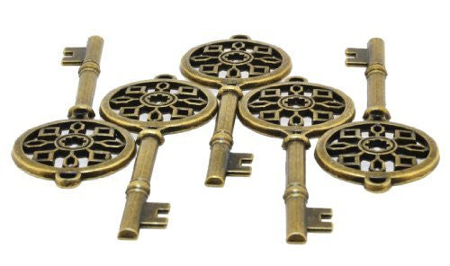 Wholesale Lot of 5 Large Skeleton Key Charms with Antique Brass Finish
