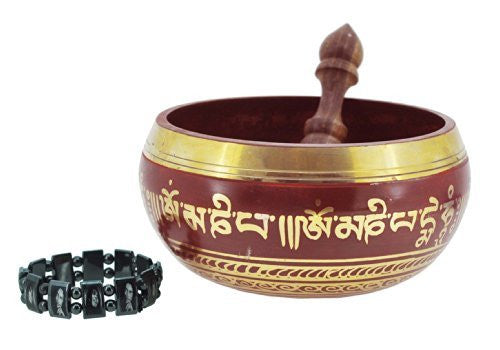 Tibetan Red Gold Tone Singing Bowl, 6 Inches, Free Magnetic Reggae Bracelet