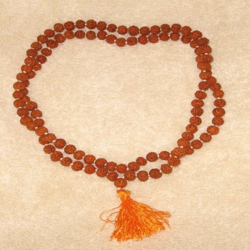 Buddhist Rudraksha Mala with Yellow Tassel