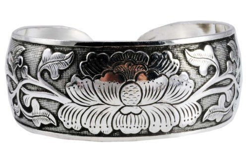 Unisex Alloy Silver Tone Unique Flower Wide Cuff Bracelet