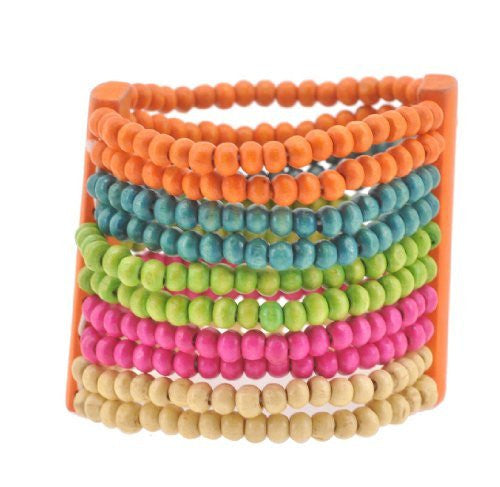Colorful Wood Stretch Bracelet, Pink, Green, and Orange