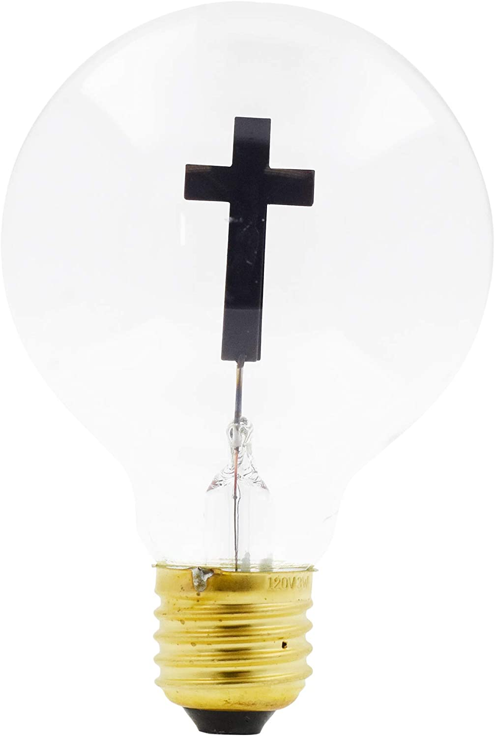 Christian Light Bulb Crucifix Bulb Jesus on The Cross Catholic Novelty Bulb 3W 120V for Pendant String Night Light by Mandala Crafts