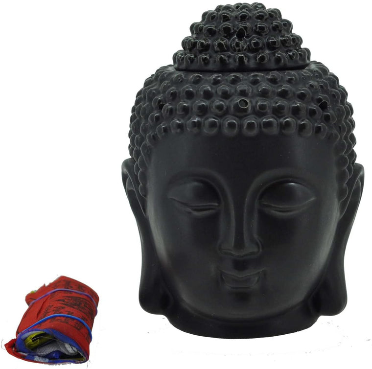 Mandala Crafts Porcelain Yoga Meditation Black Buddha Head Statue Oil Burner Aromatherapy Diffuser