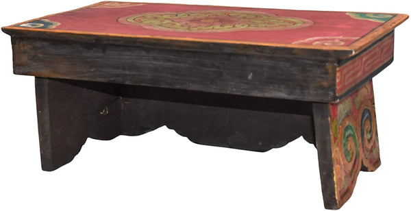 Altar Table for Meditation Yoga Room, Tibetan Furniture for Unique Home Décor; by Mudra Crafts (Small, Red)