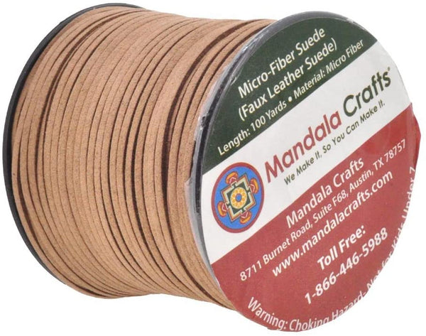 Mandala Crafts 100 Yards 2.65mm Wide Jewelry Making Flat Micro Fiber Lace Faux Suede Leather Cord Baby Pink