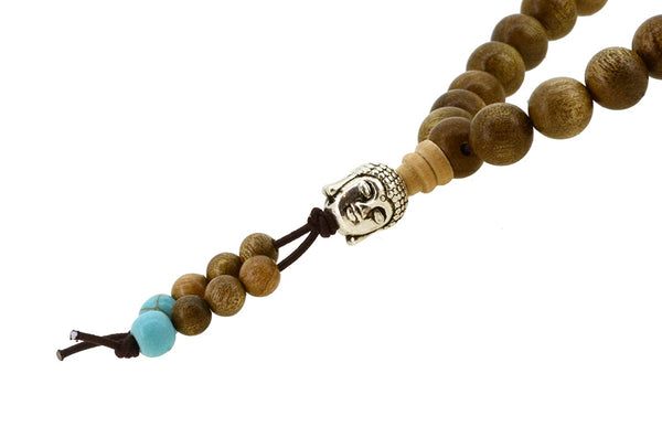 Handmade Tibetan Zen Elastic String 8mm Wood Imitation Turquoise 108 Buddha Head Prayer Beads Yoga Meditation Wrap Bracelet Mala with Removable Charms