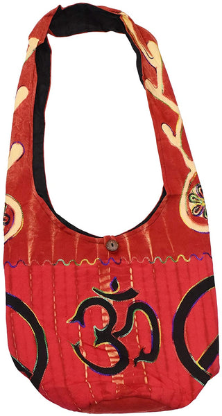 Mandala Crafts Hippie Bag - Boho Bag - Hobo Hippie Purse - Indie Style Hippie Crossbody Bag - Red Om Bohemian Sling Shoulder Bag
