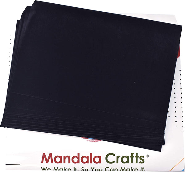 Adhesive Backed Felt Sheet for Crafts, Drawer Liner; 20 PCs Velvet Fabric Strip with Sticky Backing by Mandala Crafts (11.5 X 8 Inches, White)