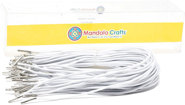 Mandala Crafts Elastic Barbed Cord, Stretch Loop Band with Metal Ends for Masks, Hats, Menus, Badges, Signs; 18 Inches 50 Loops, Black