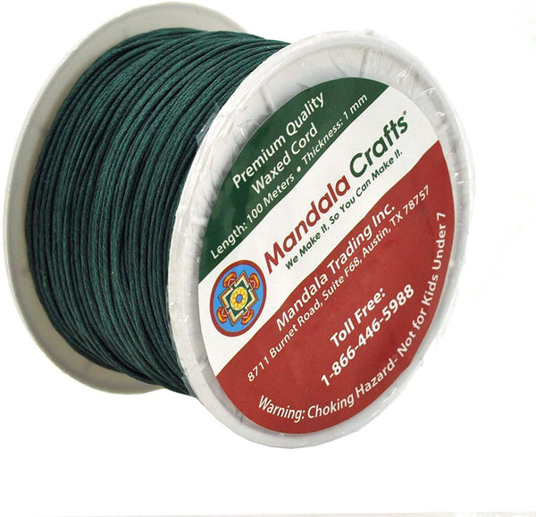 Mandala Crafts 1mm 109 Yards Jewelry Making Beading Crafting Macramé Waxed Cotton Cord Thread