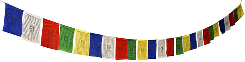 Mandala Crafts Premium Quality Cotton Long Shakyamuni Tibetan Prayer Flags, 25 Flags Per Strand (10 X 10 Inches Per Flag (21 Feet Long))