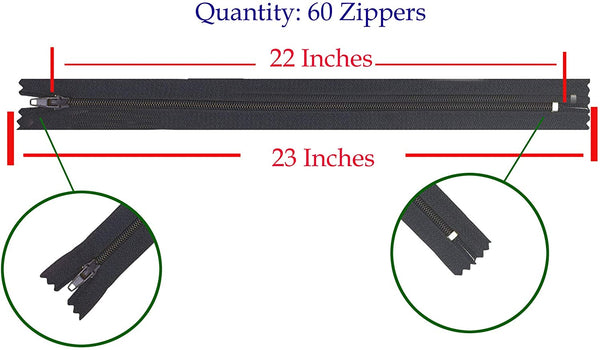 Nylon Zippers for Sewing, 28 Inch 40 PCs Bulk Zipper Supplies in 20 Assorted Colors; by Mandala Crafts