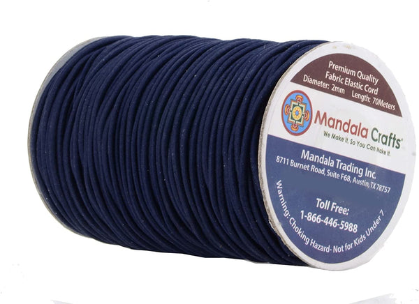 Mandala Crafts 2mm 76 Yards Fabric Elastic Cord, Round Rubber Stretch String for Journals, Beading, Jewelry Making, Masks, DIY Crafting