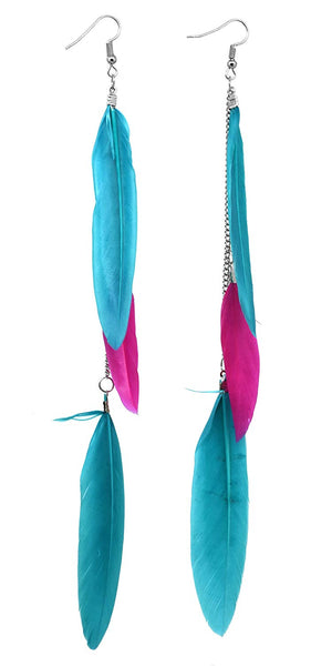 Long Chain Dangle Chandelier Style Three Feather Earrings Sexy Fashion Jewelry