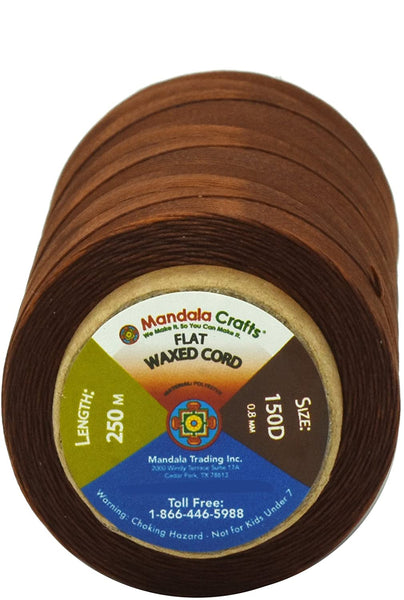 Mandala Crafts 150D 210D 0.8mm 1mm Leather Sewing Stitching Flat Waxed Thread String Cord