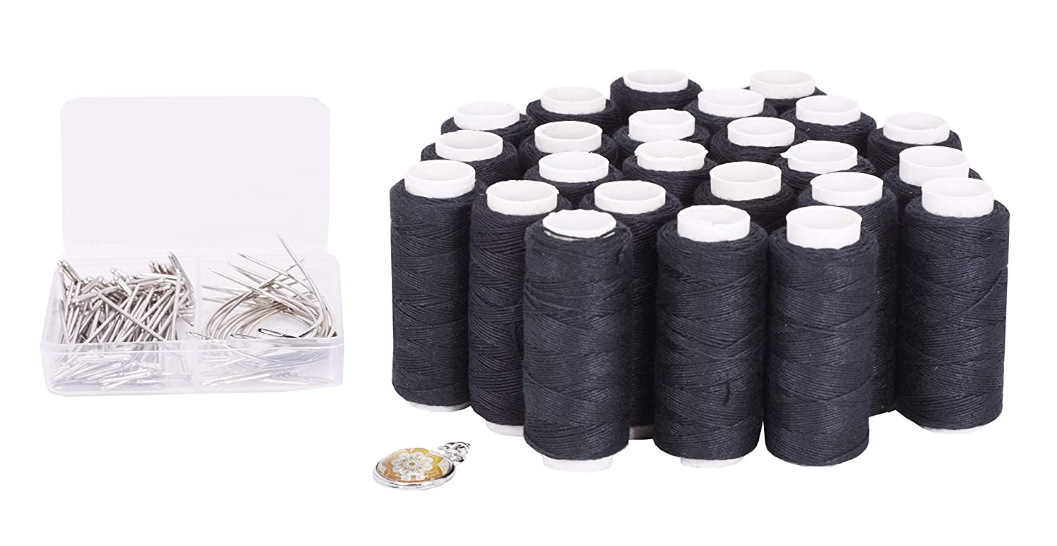 Mandala Crafts Weaving Thread and Needle Set for Hair, Wigs, Hair Extensions, Weft Sewing (24 Rolls 70 Needles, Black)