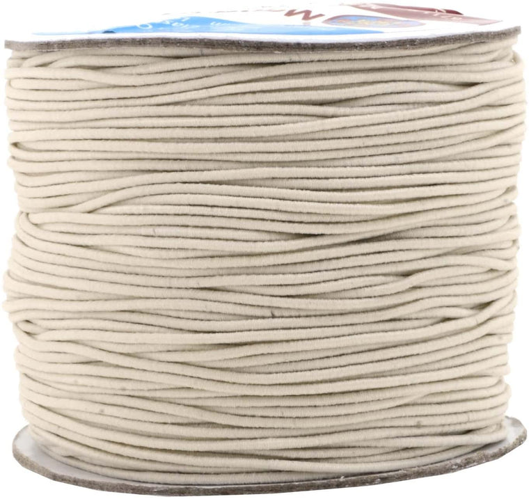 Mandala Crafts 1mm Elastic Cord Stretchy String for Bracelets, Necklaces, Jewelry Making, Beading, Masks; 109 Yards Cream