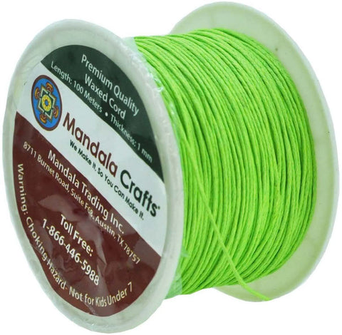 Mandala Crafts 1mm 109 Yards Jewelry Making Beading Crafting Macramé Waxed Cotton Cord Thread (Lime Green)