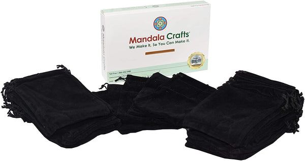 Velvet Bags with Drawstring for Jewelry, Gifts, Packaging; Cloth Plain Pouches by Mandala Crafts