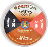 Mandala Crafts Rayon Twisted Cord Trim, Shiny Viscose Cording for Home Décor, Upholstery, Curtain Tieback, Honor Cord (5mm, Silver)