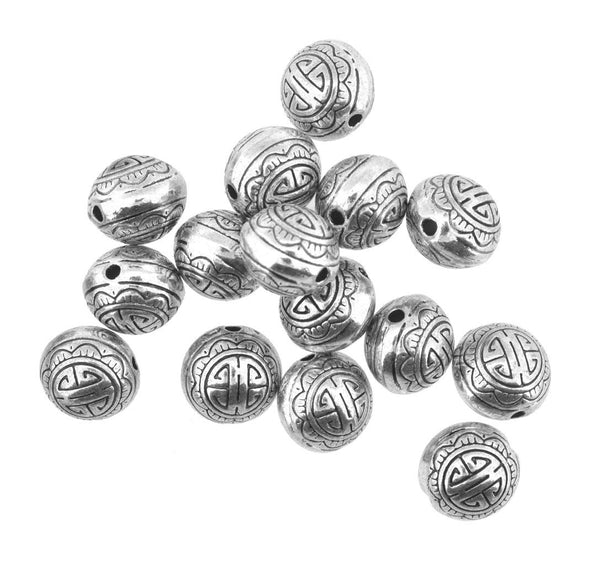 Mandala Crafts Metal Auspicious Sign Loose Metal Beads,30 Beads