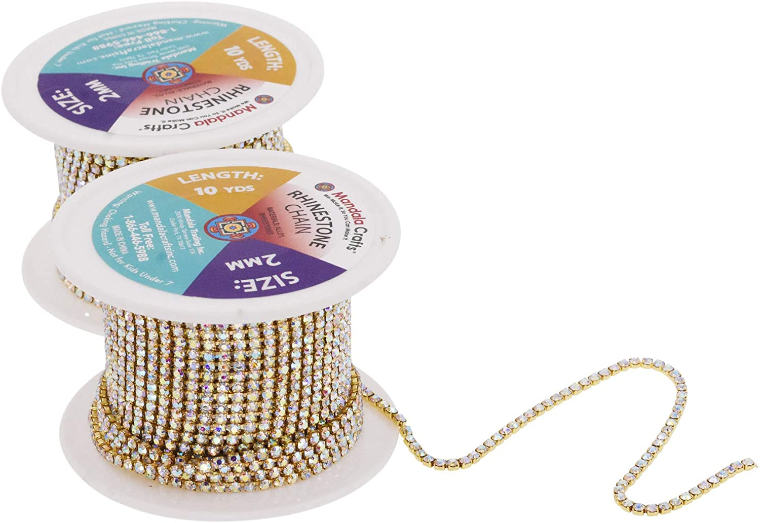 Mandala Crafts Rhinestone Cup Chain Trim Roll for Jewelry Making, Clothes, Glass Crystal Glam Decor, Simulated Diamond Beaded Bling Wraps, Veils, Cakes (1 Row 2mm 20 Yards 2 Rolls, Clear)
