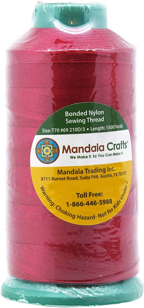 Mandala Crafts Bonded Nylon Sewing Thread, 1500 Yard Size #69 T70