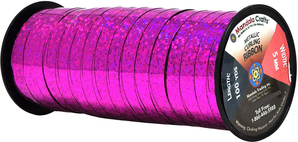 Mandala Crafts Glitter Curling Ribbon, Crimped, Iridescent, Metallic Décor for Balloon, Gift Wrapping, Party Favors, Holiday, 5mm (Two Rolls 200 Yards, Red)