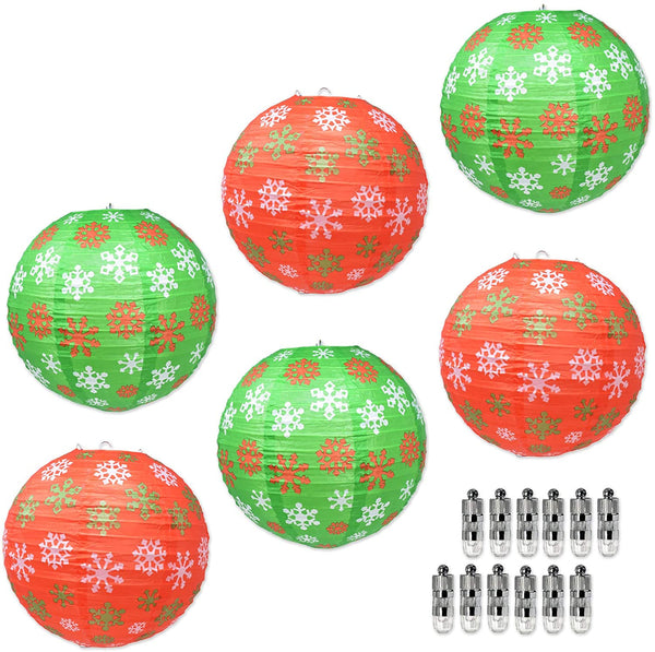 Mudra Crafts Christmas Paper Lanterns with Led Lights, Chinese Decorative Round Holiday Party Hanging Ornament Lamp Set