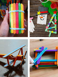 Wooden Craft Sticks, Colored Popsicle Sticks for Crafts, Rainbow Bulk Pack by Mandala Crafts