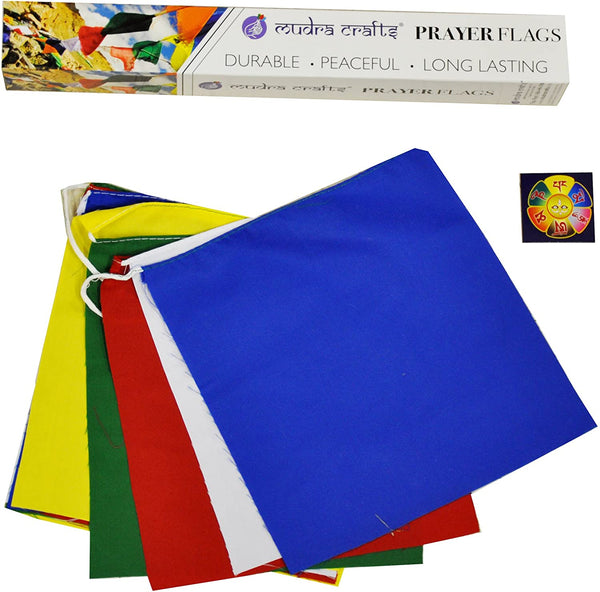 Tibetan Prayer Flag, Himalayan Lungta Windhorse Hanging Banner on a String for Decoration; by Mudra Crafts; Blank