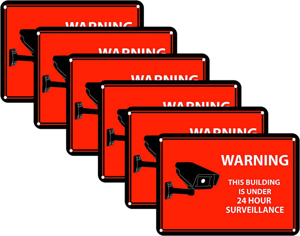 Mandala Crafts 24 Hour Video Surveillance Sign, Security Camera Sign, Rectangular Aluminum Warning Sign for Outdoors, Homes, Businesses, CCTV Recording 2-Pack White